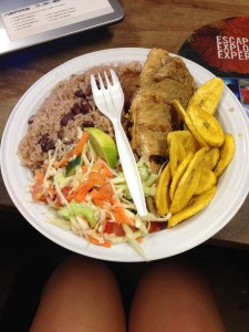 whole fried jack, coconut rice & beans, cabbage salad, fried plantains