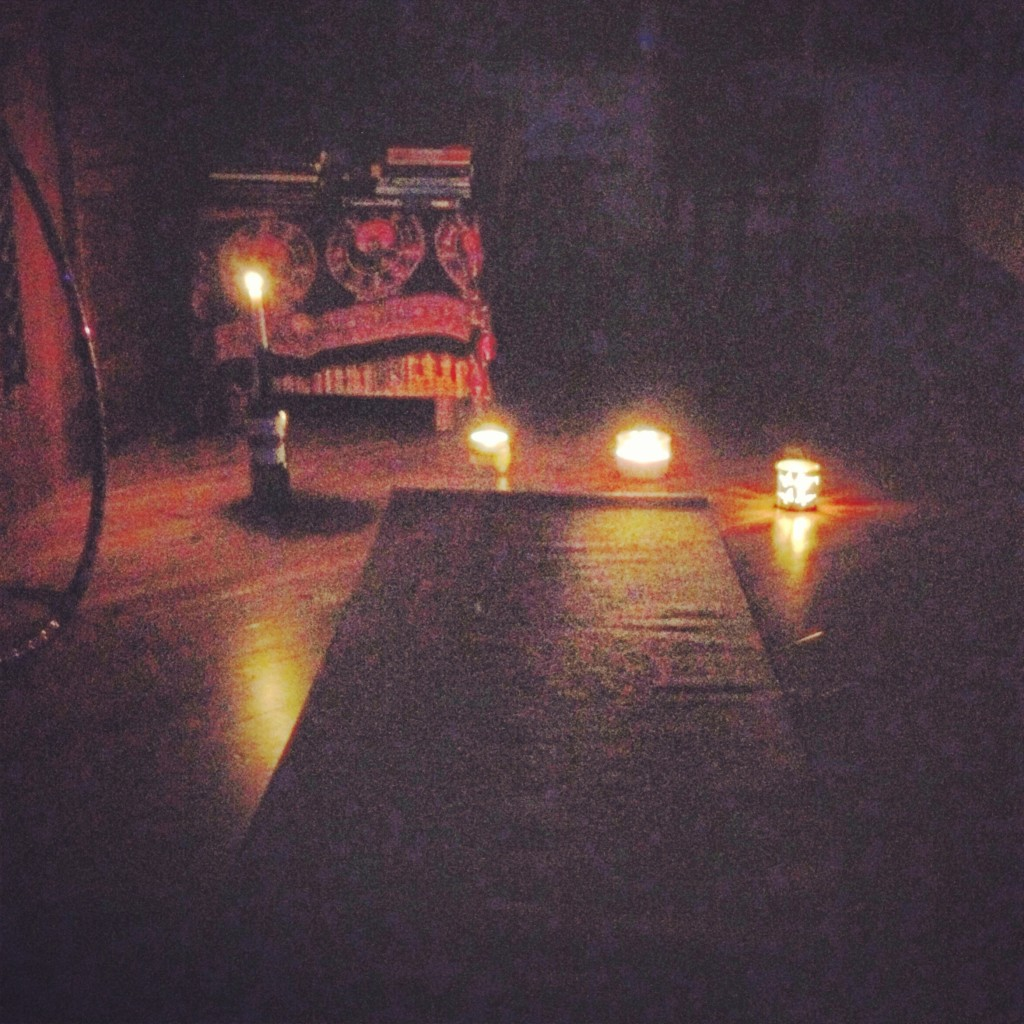 when the power goes out, don't get frustrated... do some candlelight yoga!